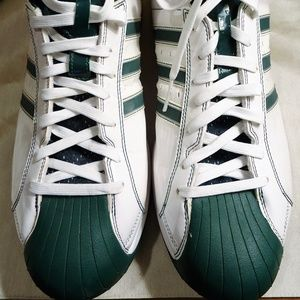 Adidas Mens Size 13.5 Green & White High Top Shoes